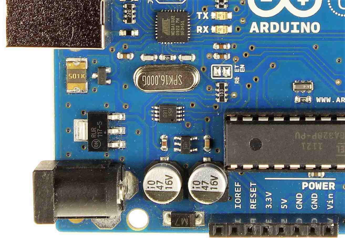 Powering the Arduino - a close up of the board's power supply section